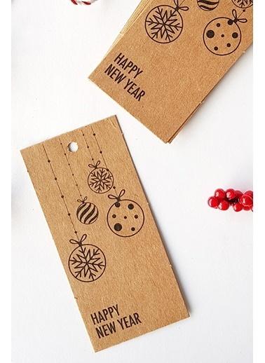 Funbou Kraft Etiket, Yılbaşı Süsleri / 100 Adet Kahve